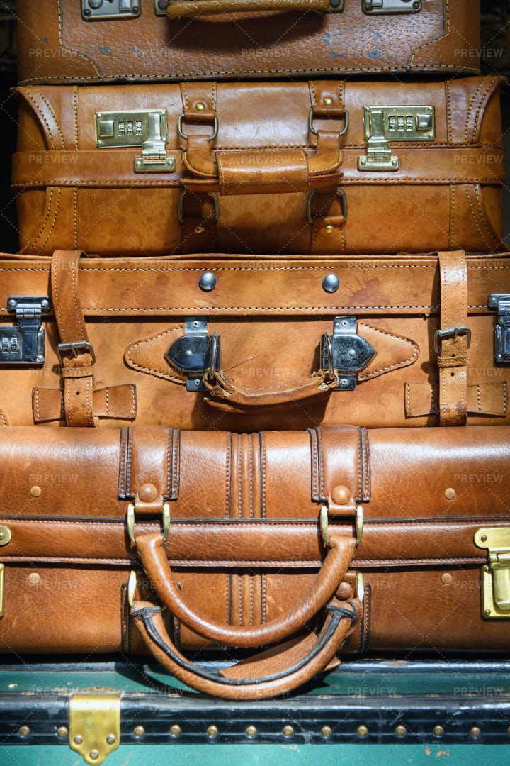 Vintage Leather Suitcases: Stock Photos