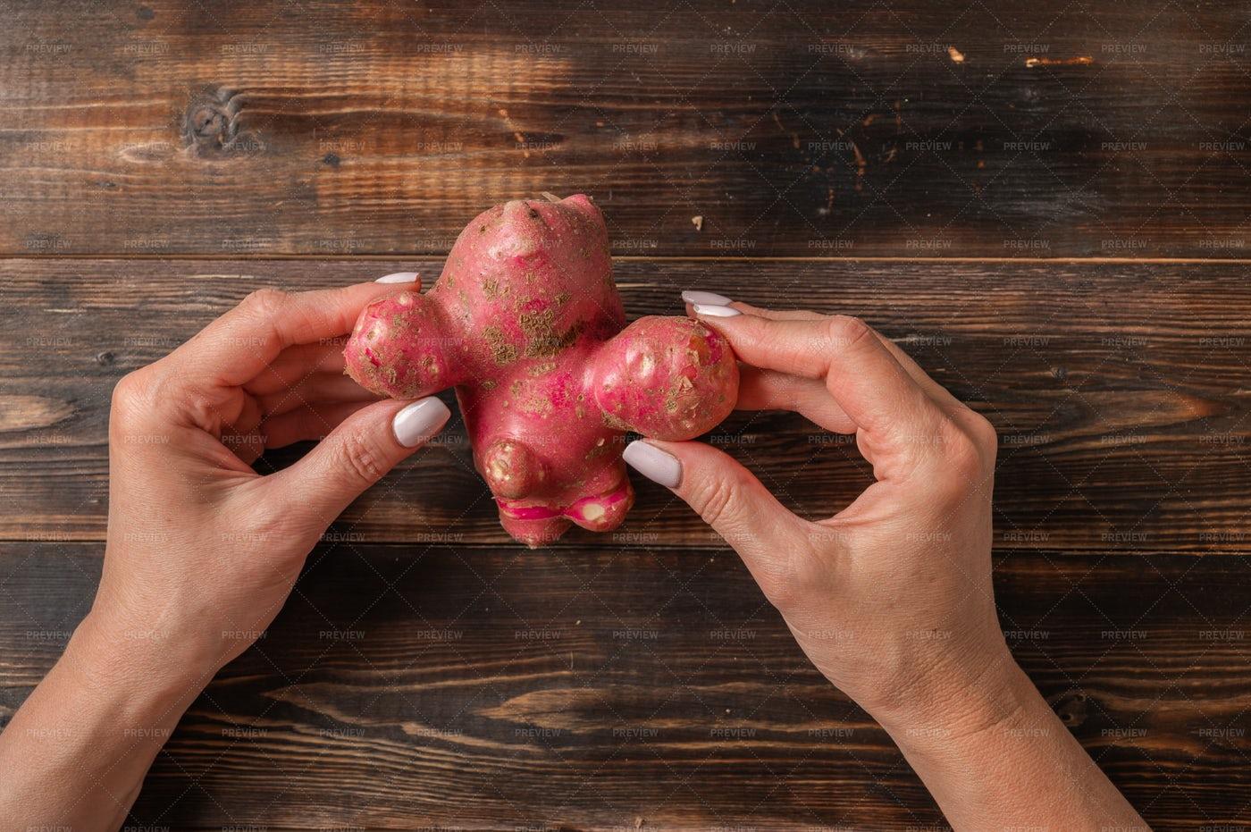 Organic Potato In Hands: Stock Photos