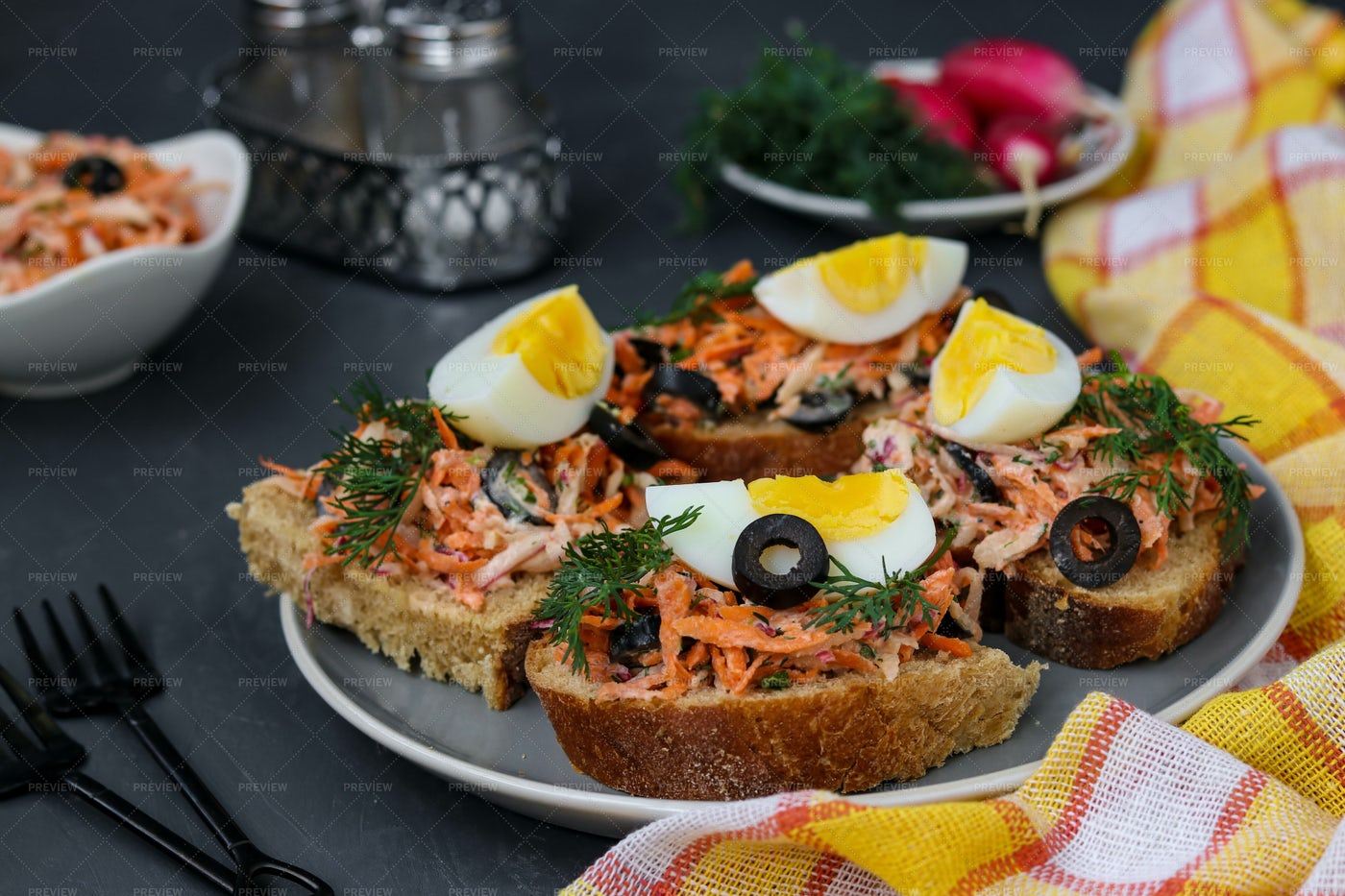 Homemade Sandwiches With Carrots: Stock Photos