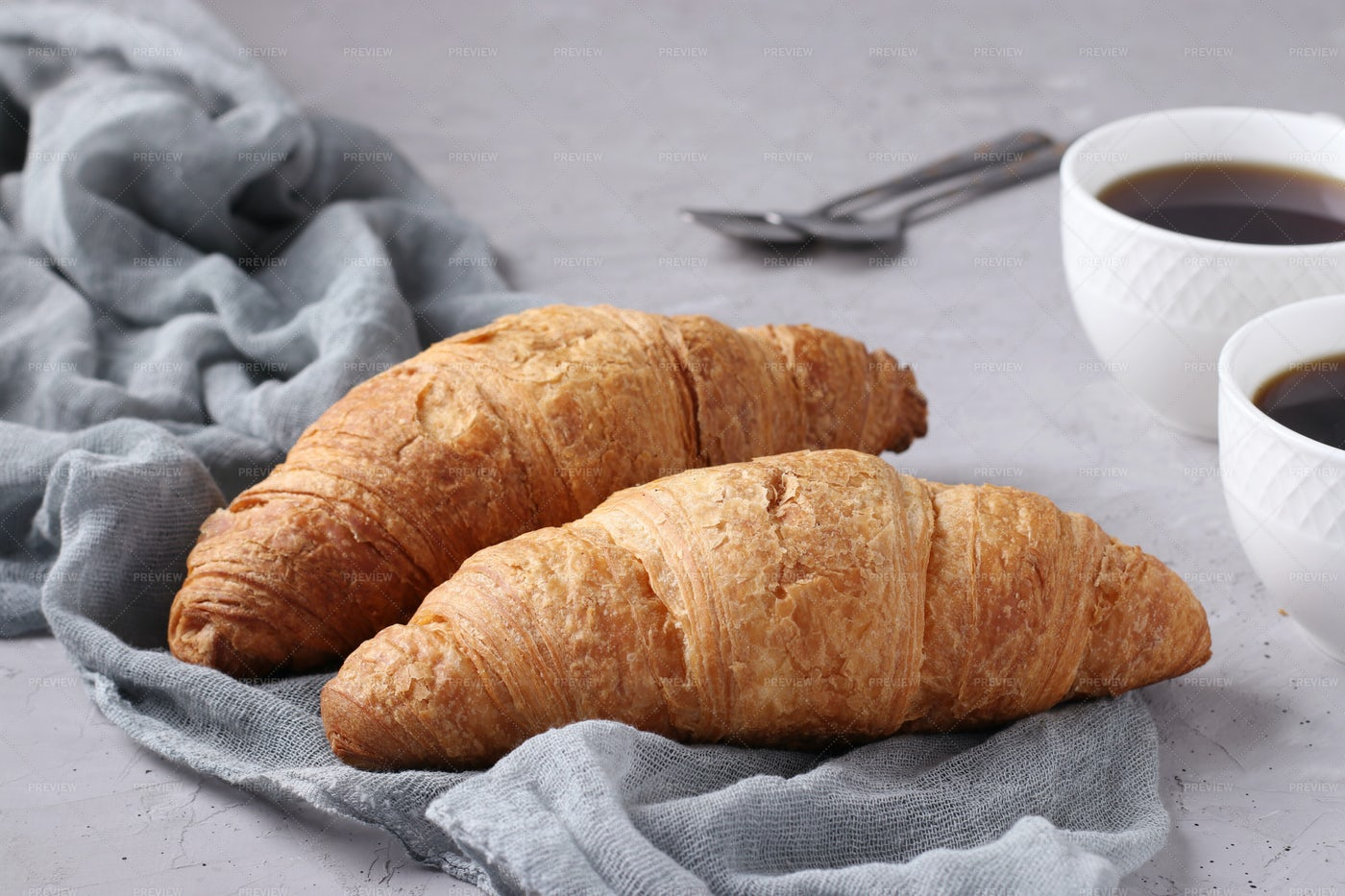 Croissants And Cups Of Coffee: Stock Photos