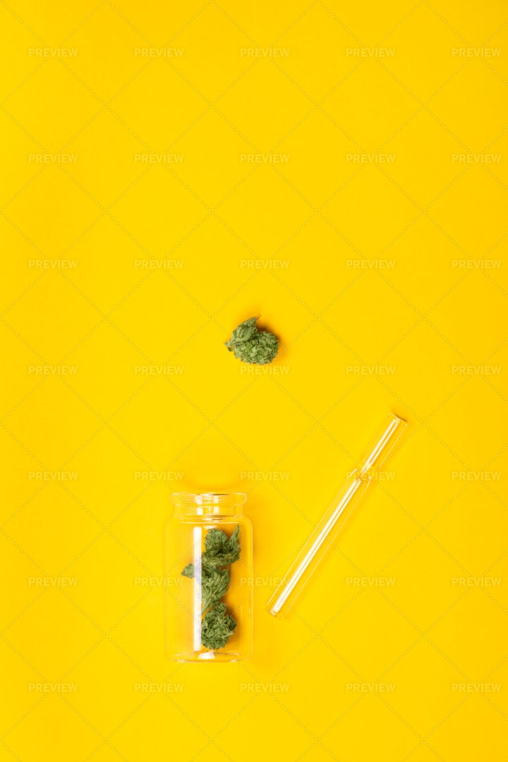 Dried Marijuana And Pipe: Stock Photos