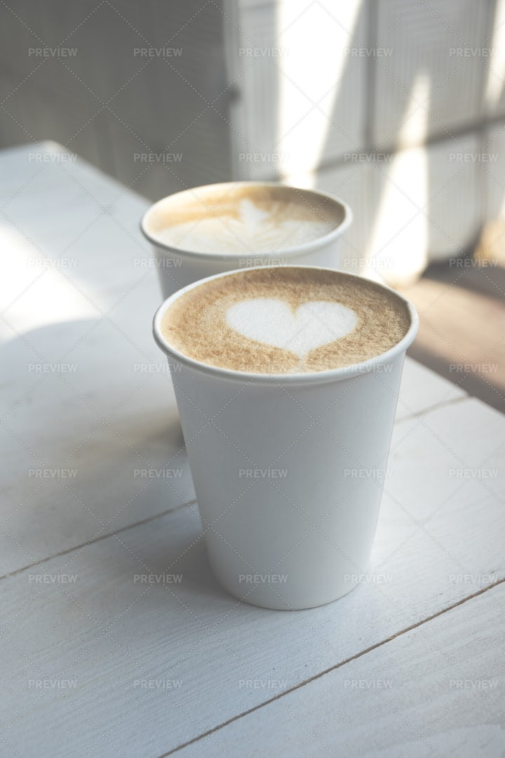 Two Paper Coffee Cups: Stock Photos