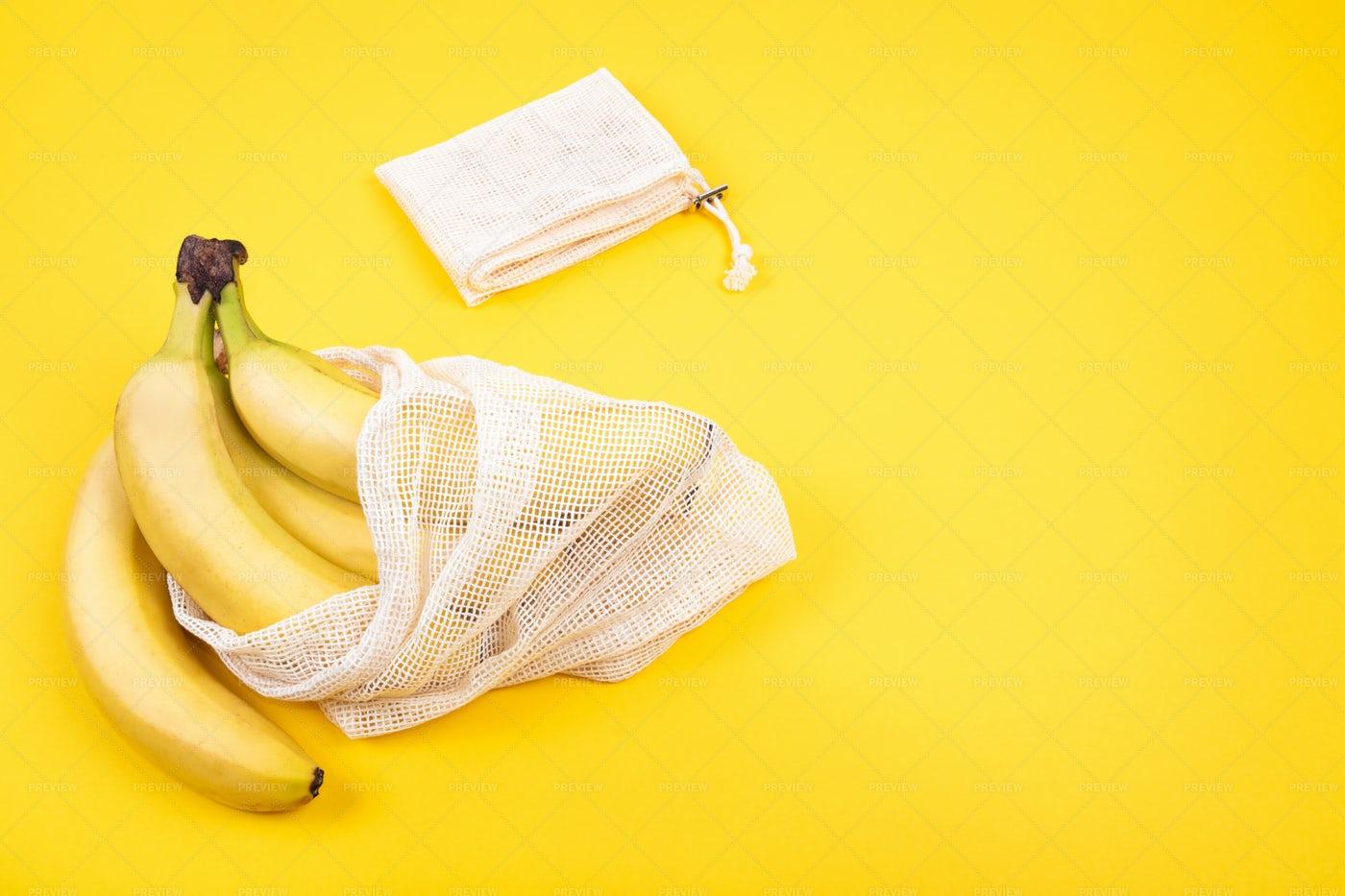 Bananas In Recycled Bag: Stock Photos