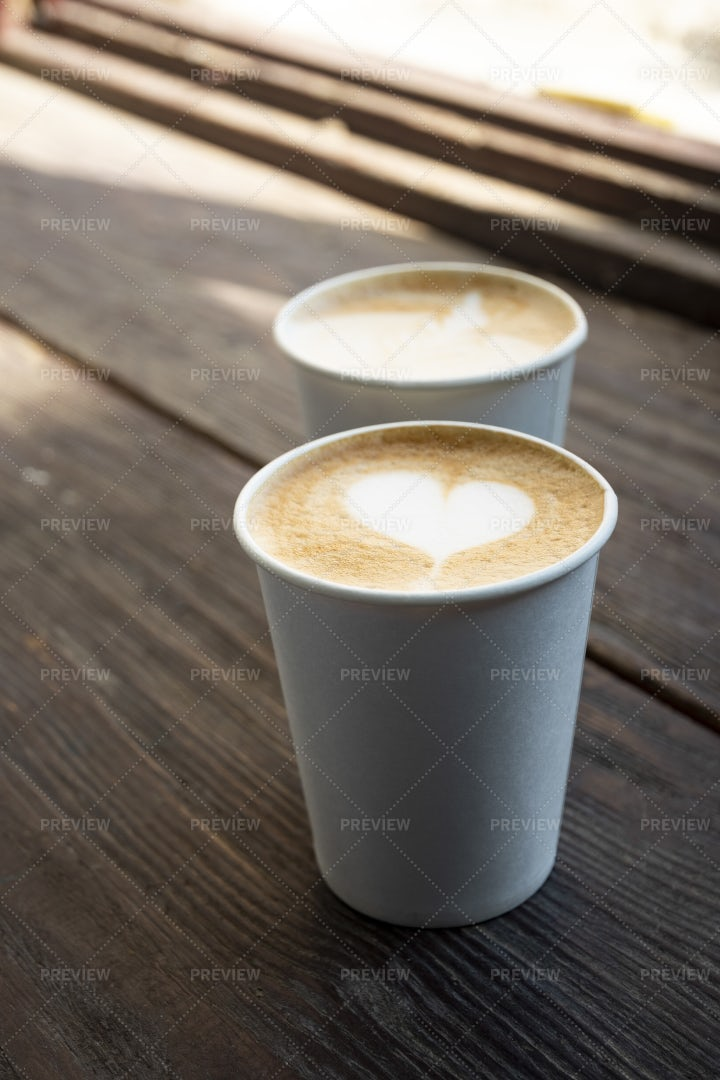 Two Paper Cups Of Coffee: Stock Photos