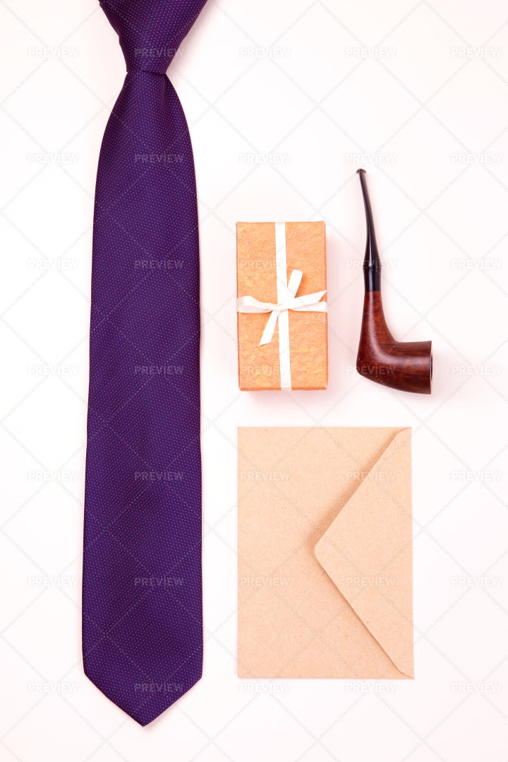 Neck Tie, Gift Box, Tobacco Pipe: Stock Photos