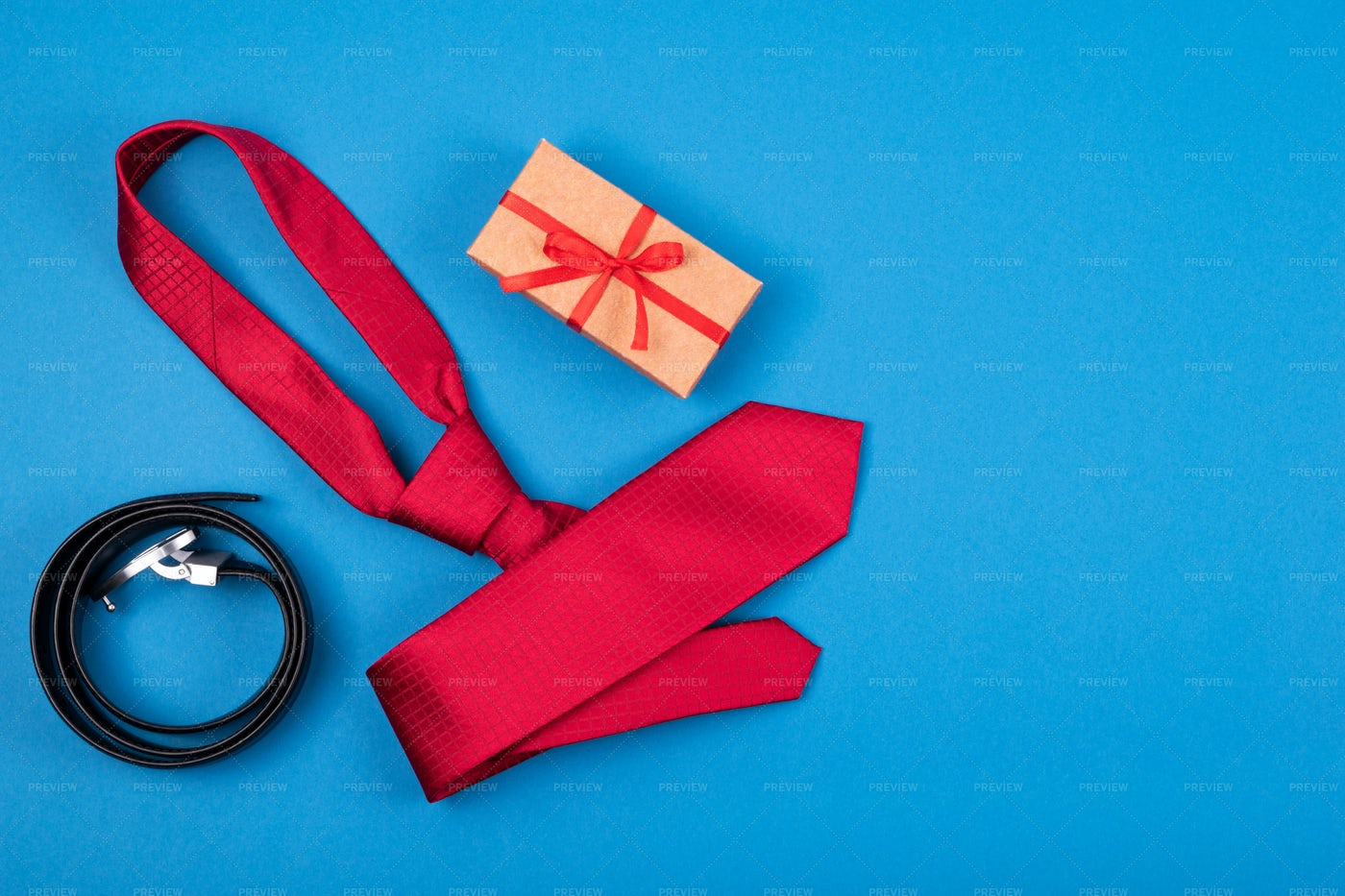 Tie, Gift Box And Belt: Stock Photos