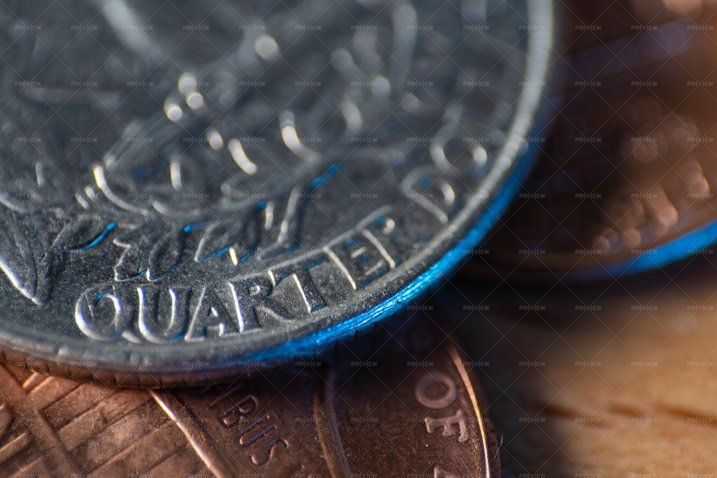American Quarter Dollar Coin: Stock Photos