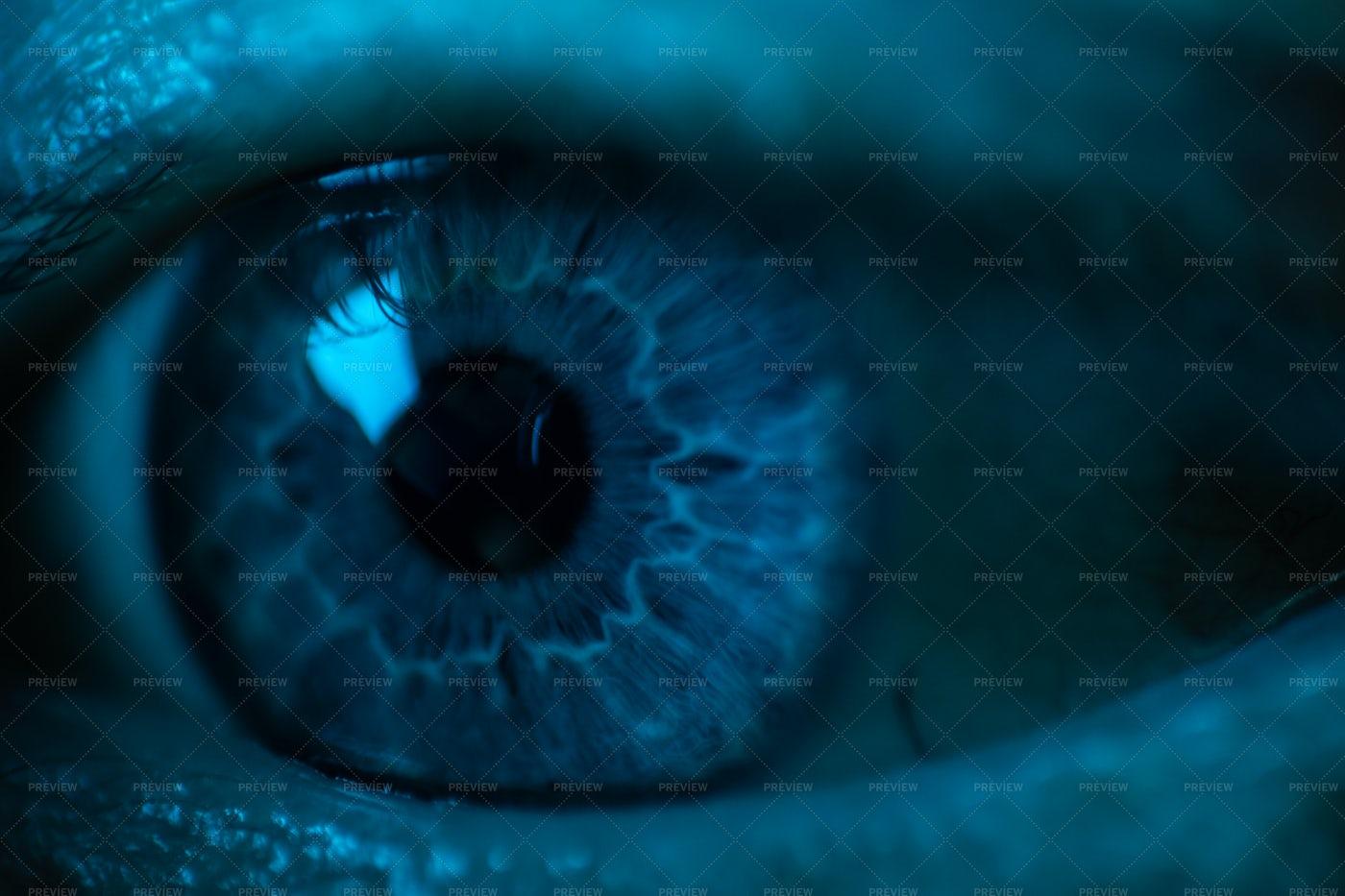 Eyeball In Blue Light: Stock Photos