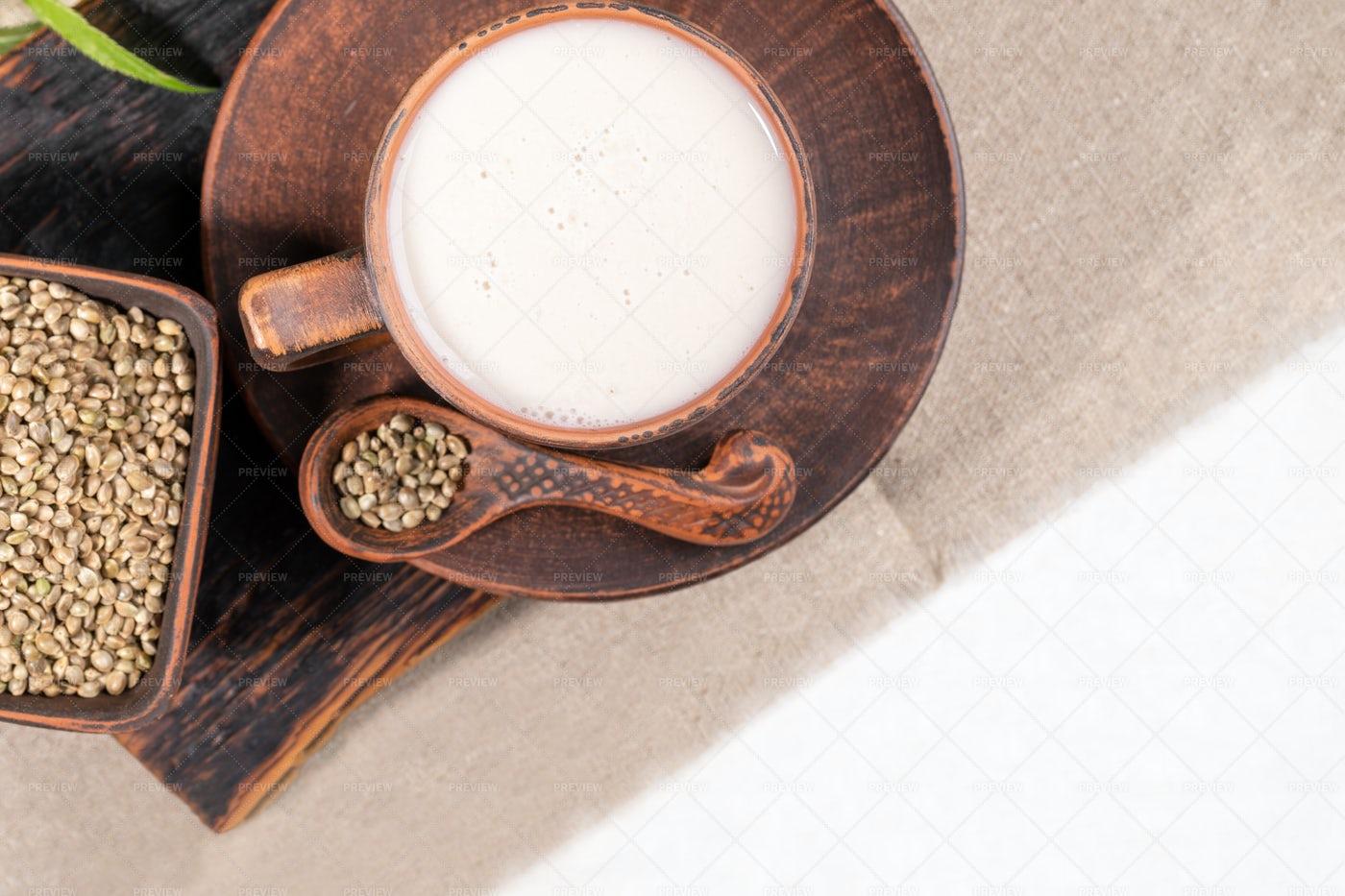 Hemp Milk In Cup: Stock Photos