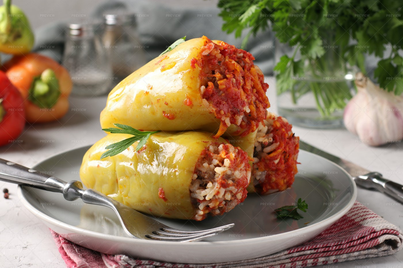 Tasty Stuffed Bell Peppers: Stock Photos