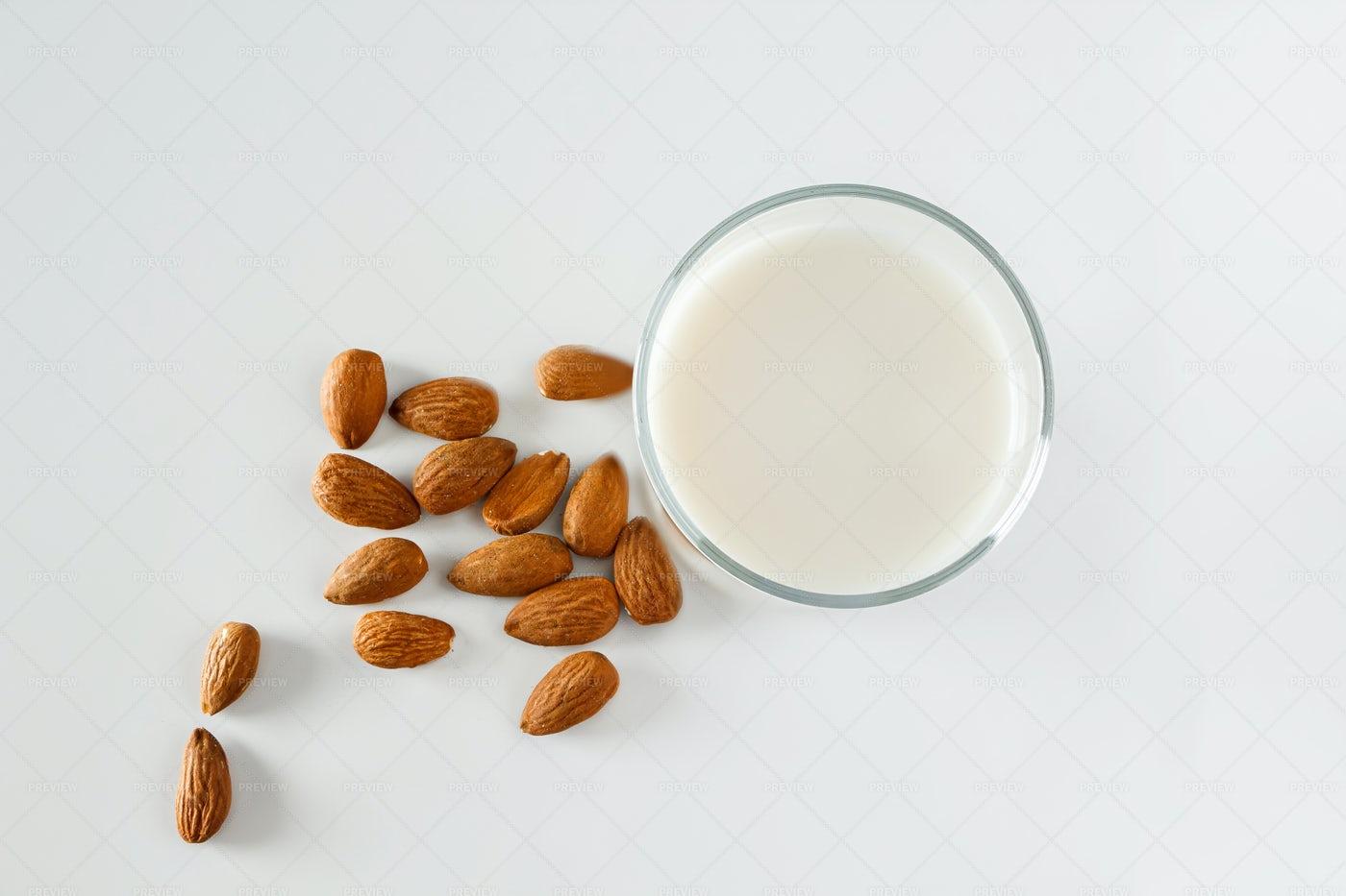 Glass Of Almond Milk: Stock Photos