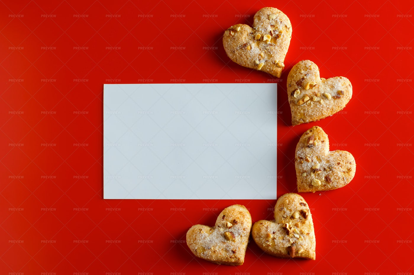 Heart Cookies On Red: Stock Photos
