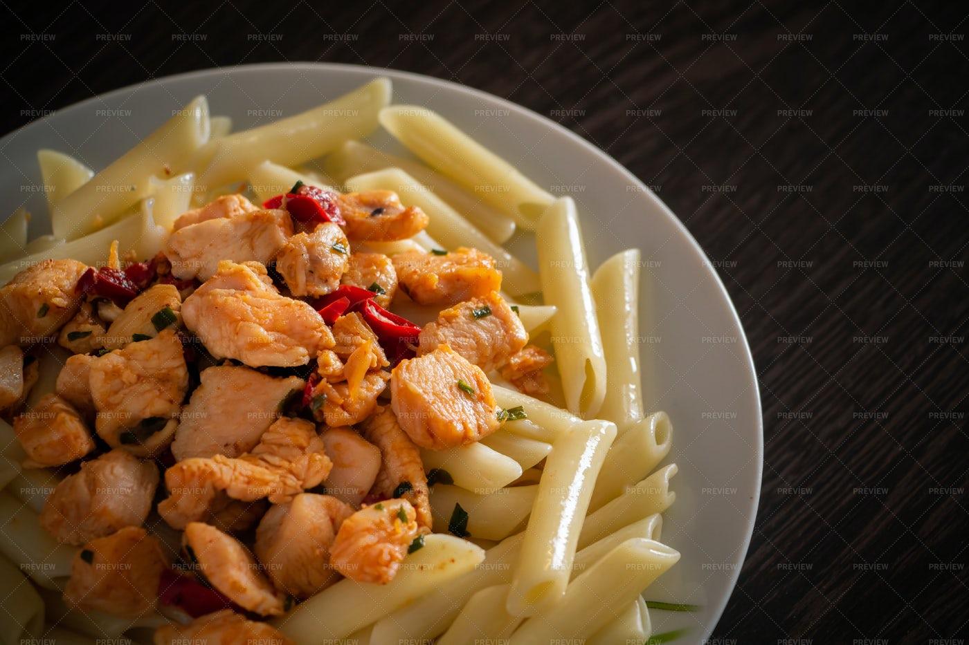 Pasta With Chicken: Stock Photos