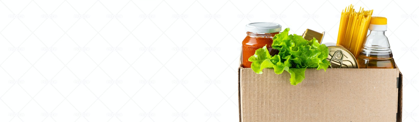 Box With Food On White: Stock Photos