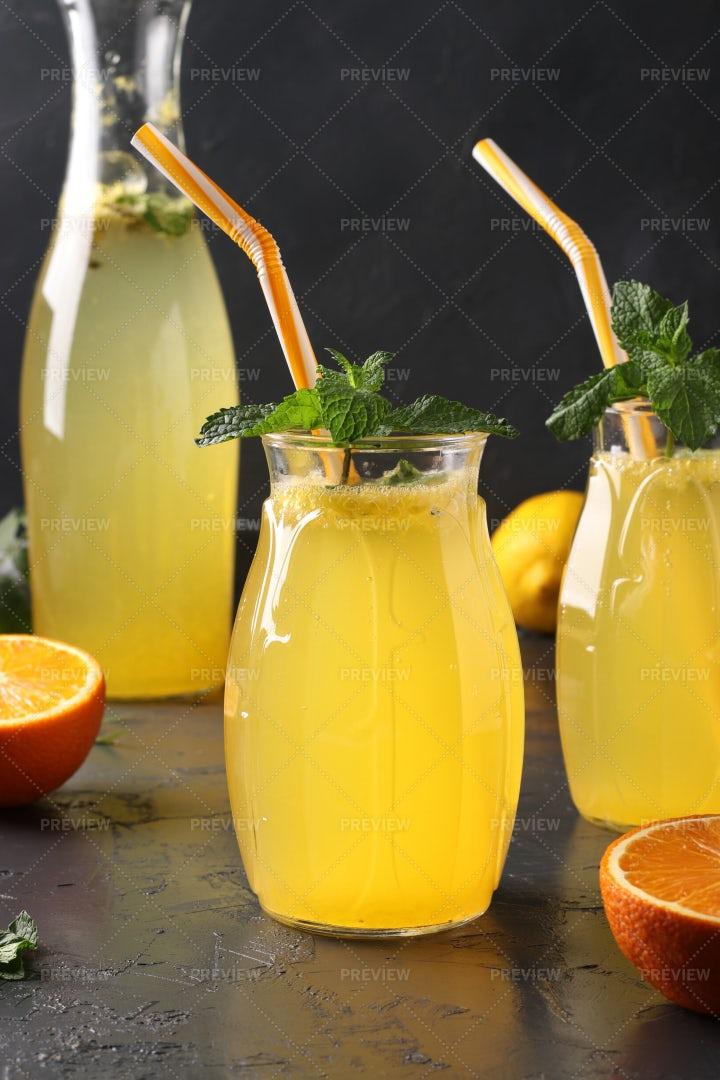 Homemade Lemonade In Glasses: Stock Photos