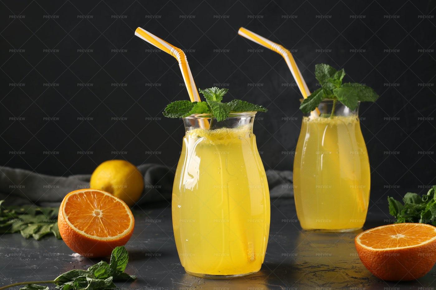 Lemonade With Straws: Stock Photos
