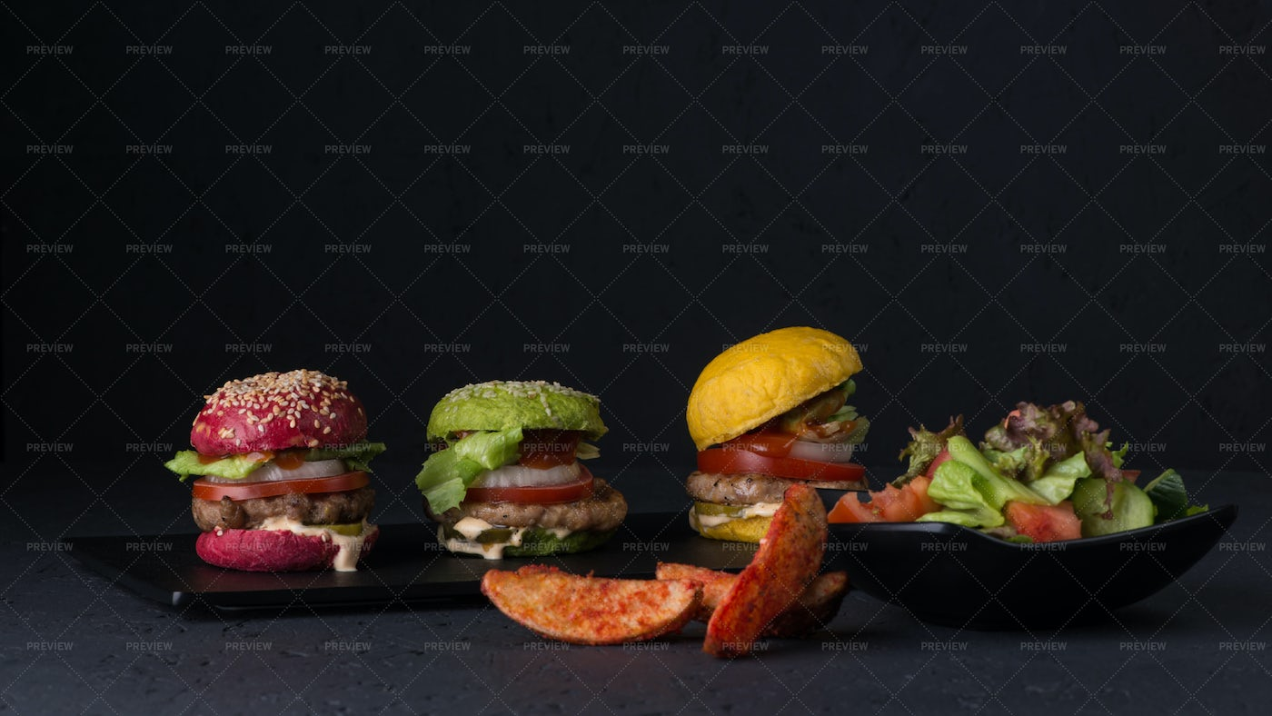 Colorful Cheeseburgers: Stock Photos