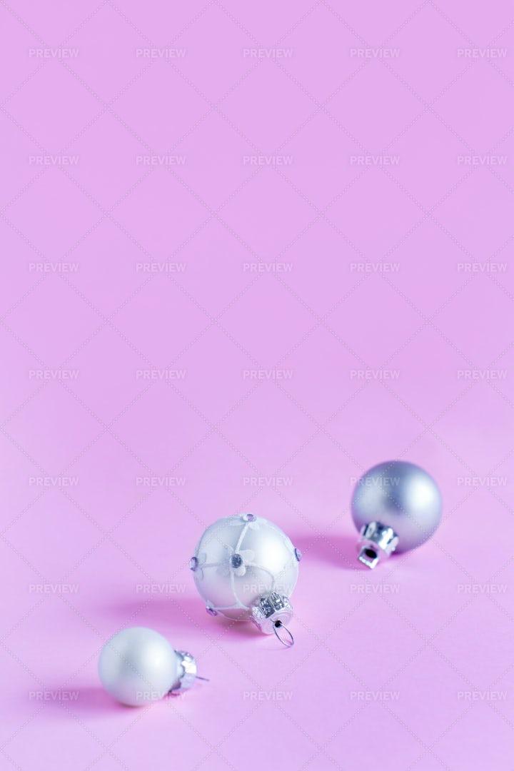 Silver Christmas Baubles: Stock Photos