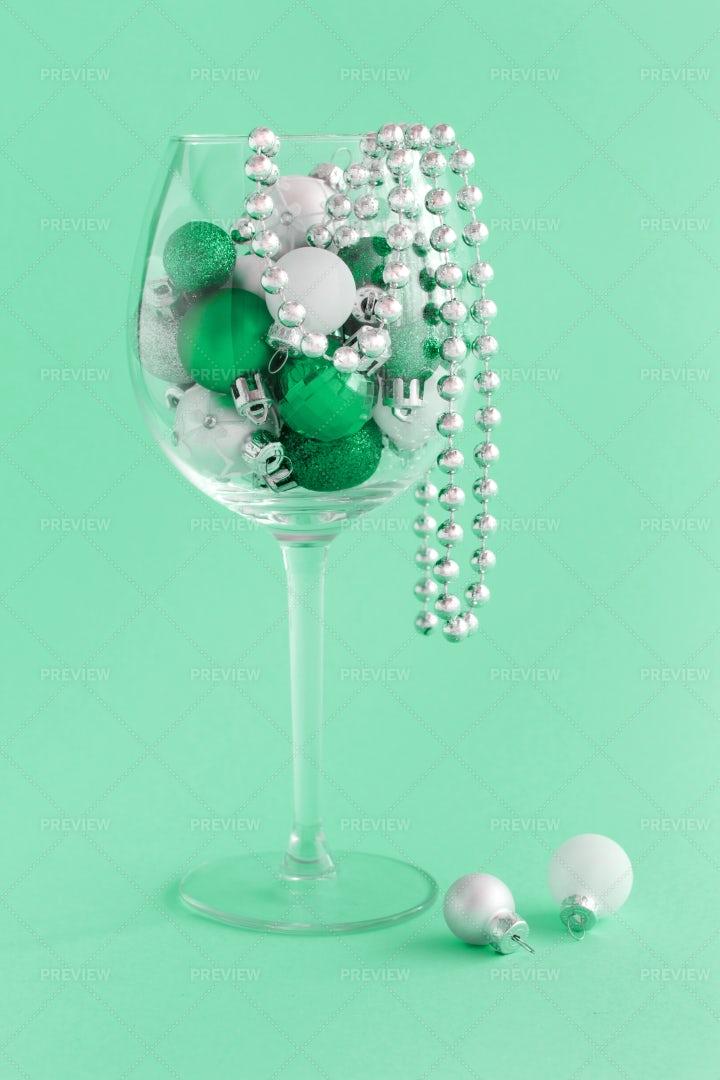 Glass Of Christmas Decor: Stock Photos