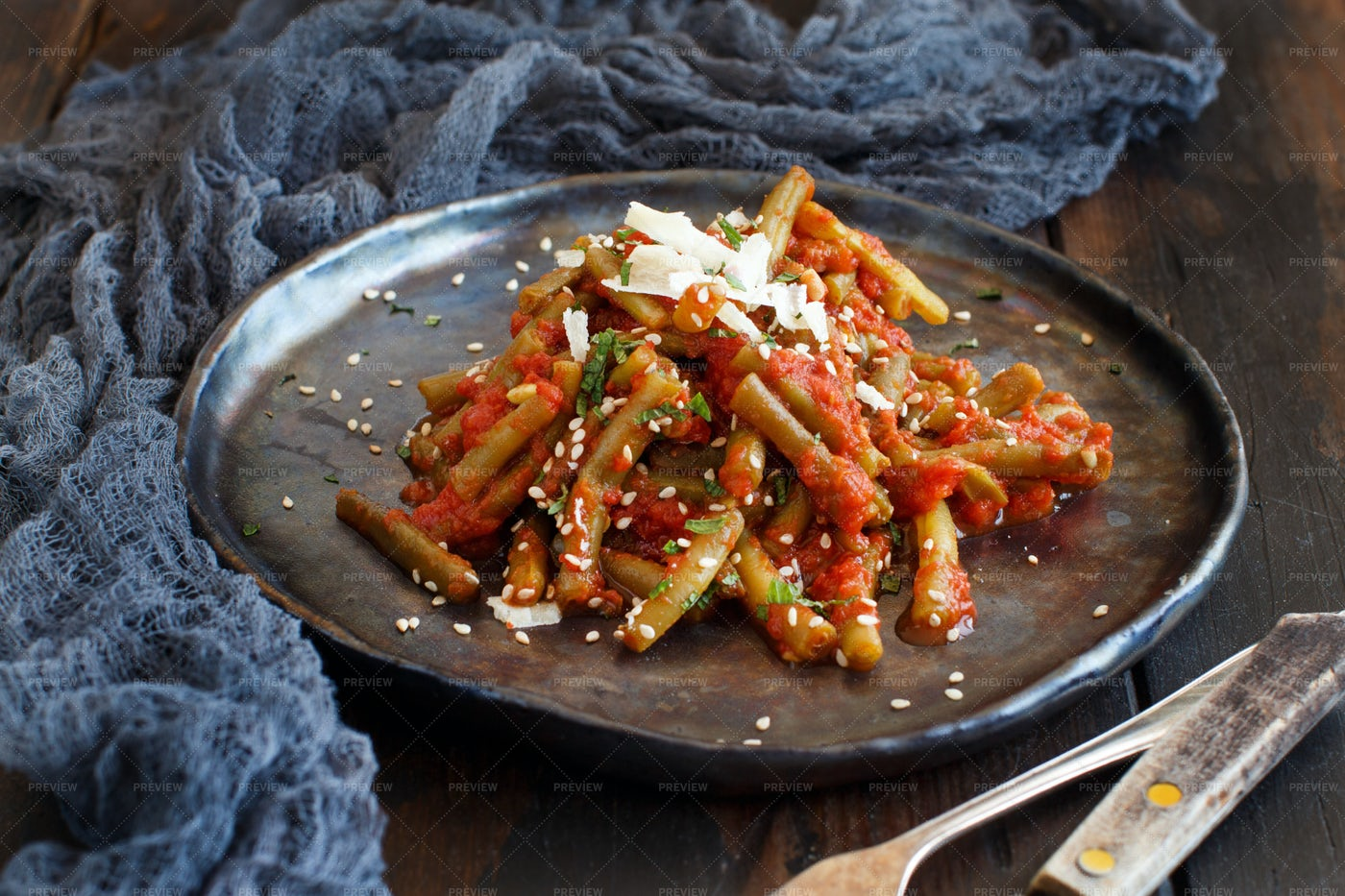French Beans With Tomato: Stock Photos
