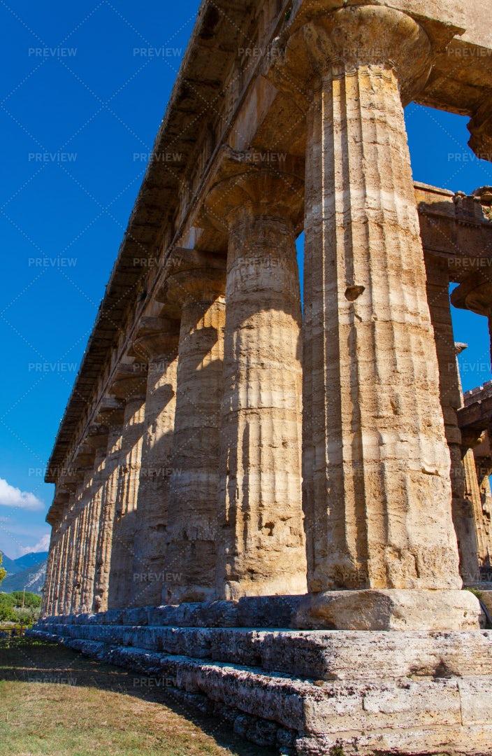 The Greek Temple In Paestum: Stock Photos