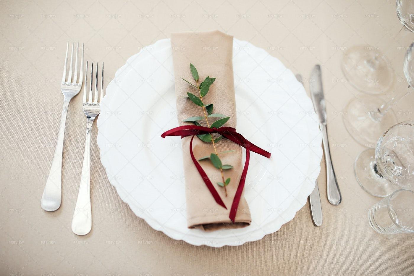 A Wedding Plate Set Up: Stock Photos