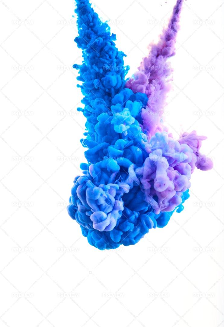 Blue And Purple Paint Pillars: Stock Photos