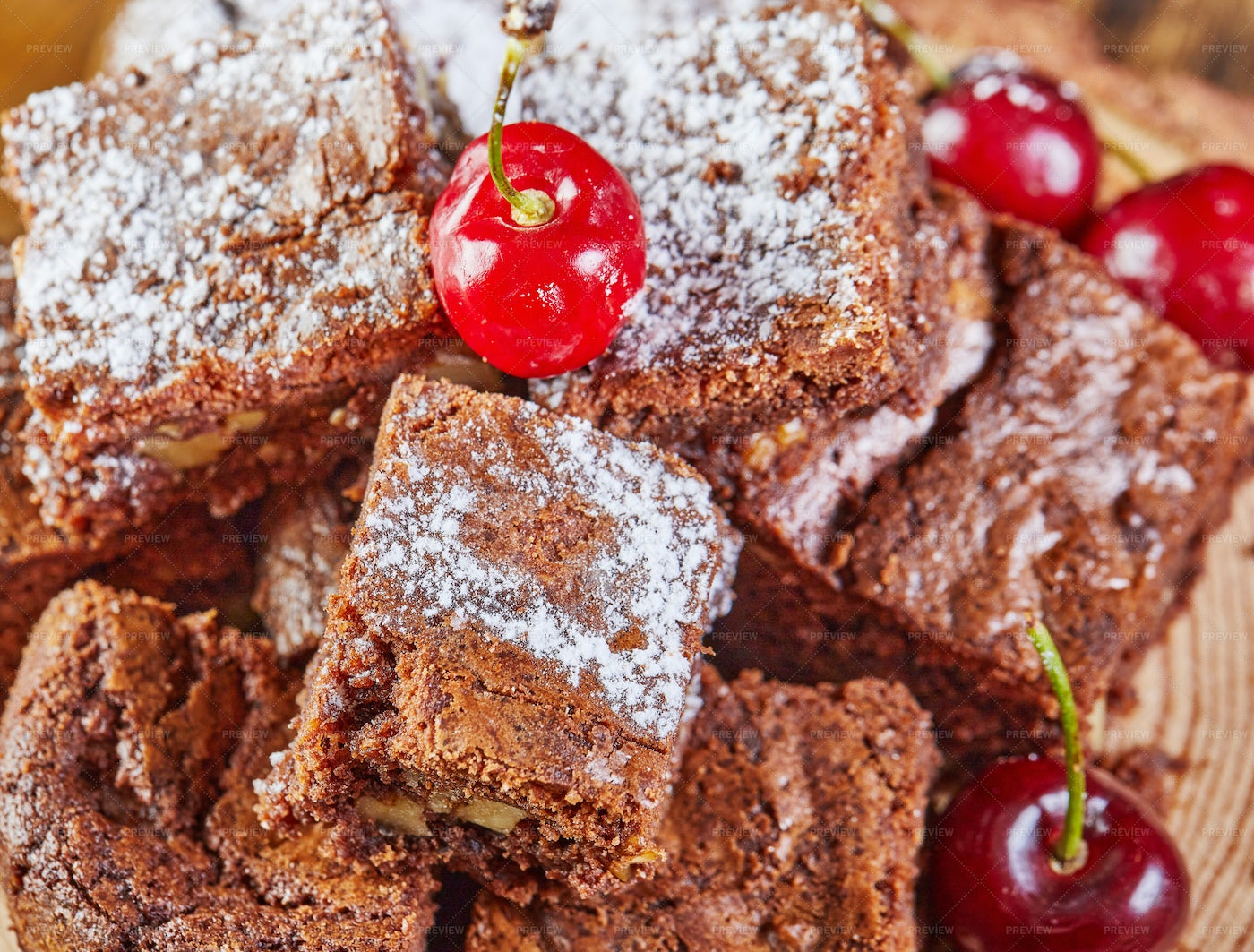 Brownies And Cherries: Stock Photos
