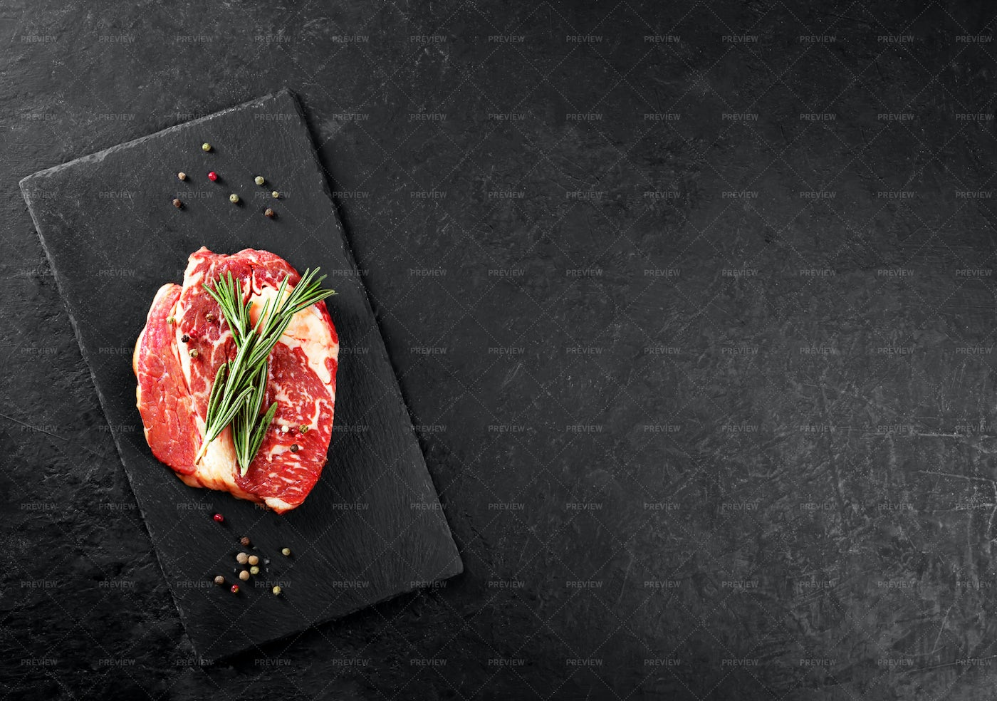 Beef Steak With Rosemary: Stock Photos