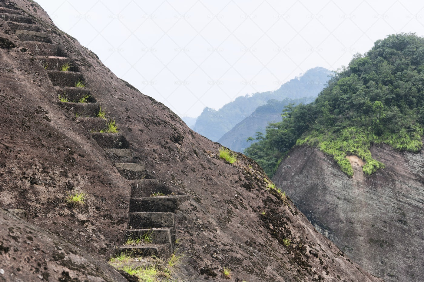 Steps Up The Rock: Stock Photos