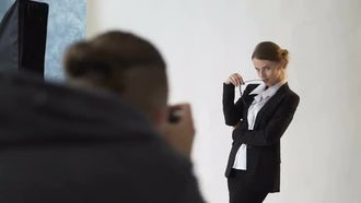 Beautiful Businesswoman In Photo Shoot : Stock Video