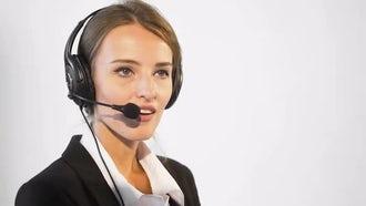 Happy Female Call Center Operator: Stock Video