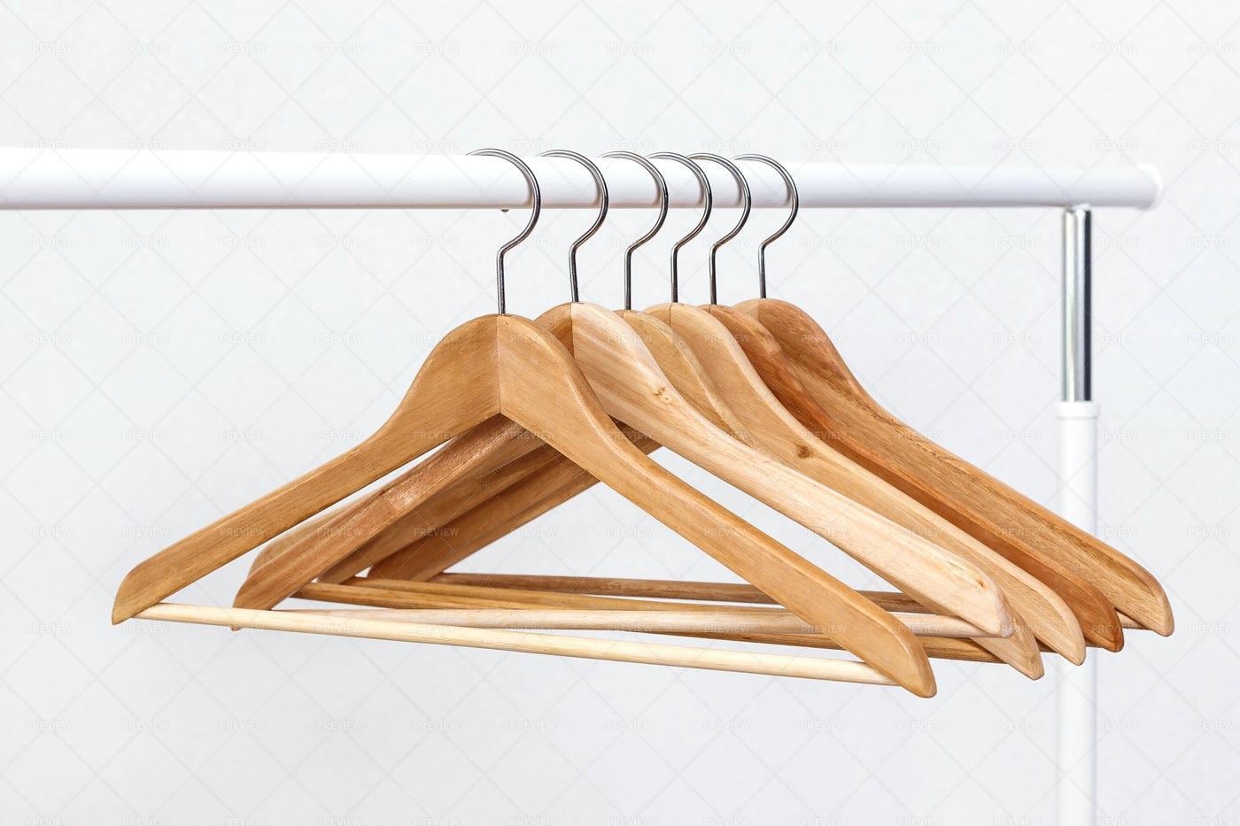 Wooden Clothes Hangers: Stock Photos