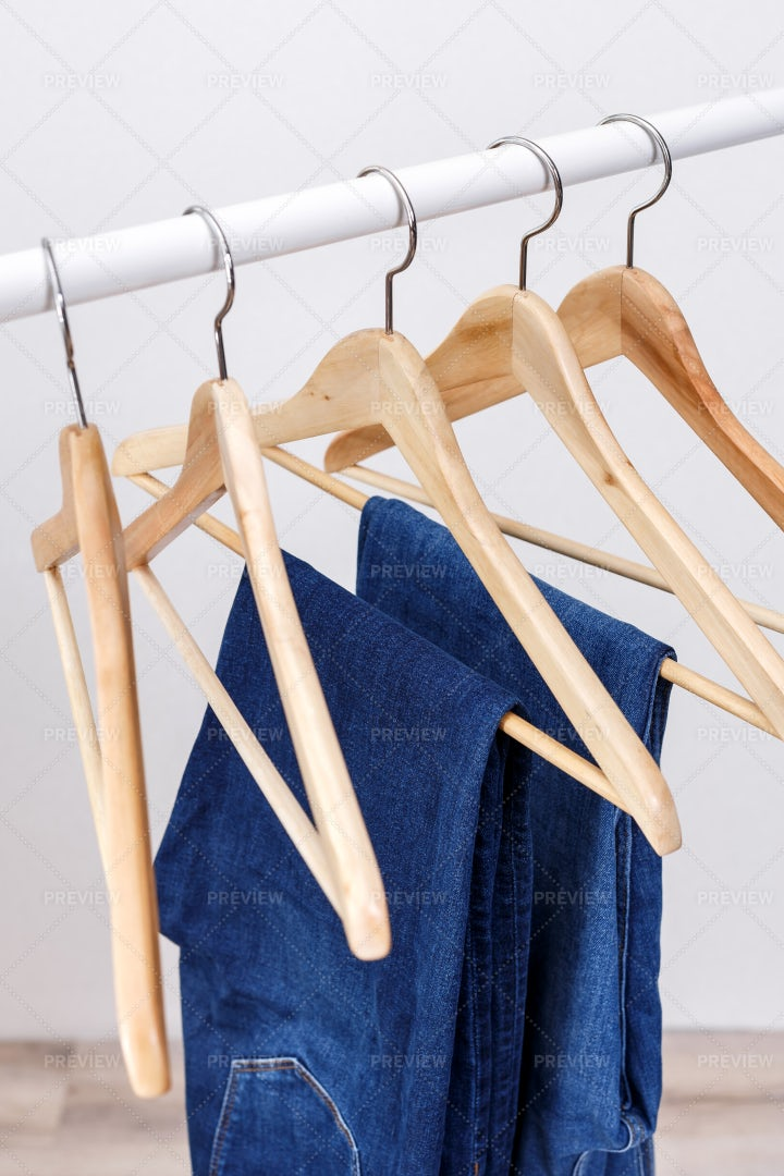 Hangers And Jeans: Stock Photos