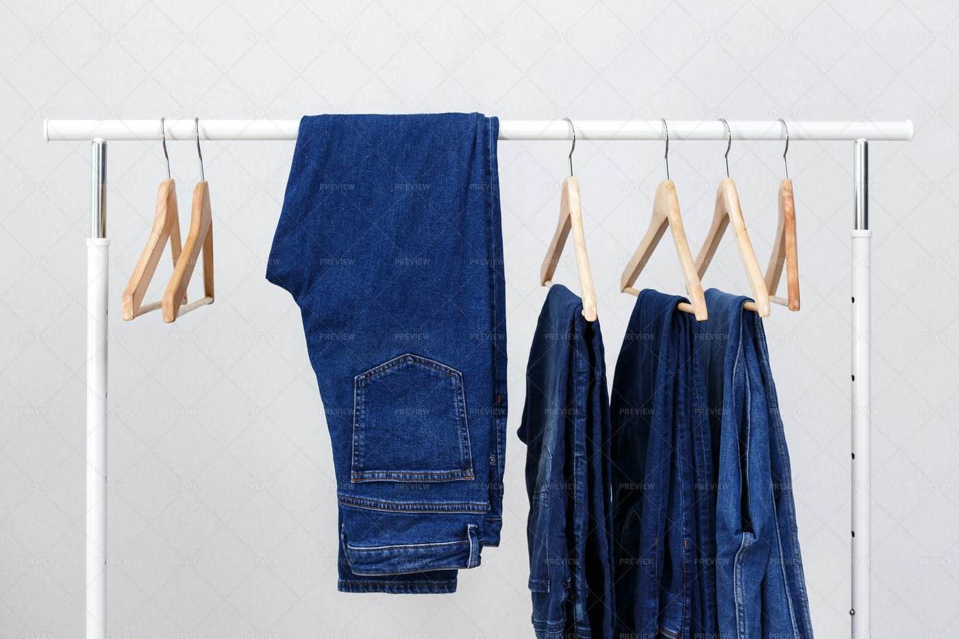 Metal Rack With Jeans: Stock Photos