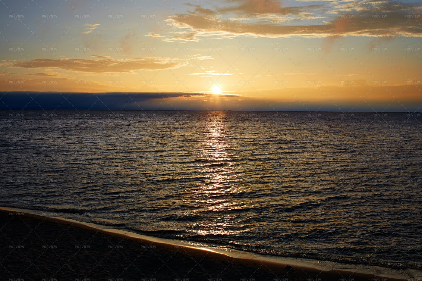 Sunset On The Lake Baikal: Stock Photos