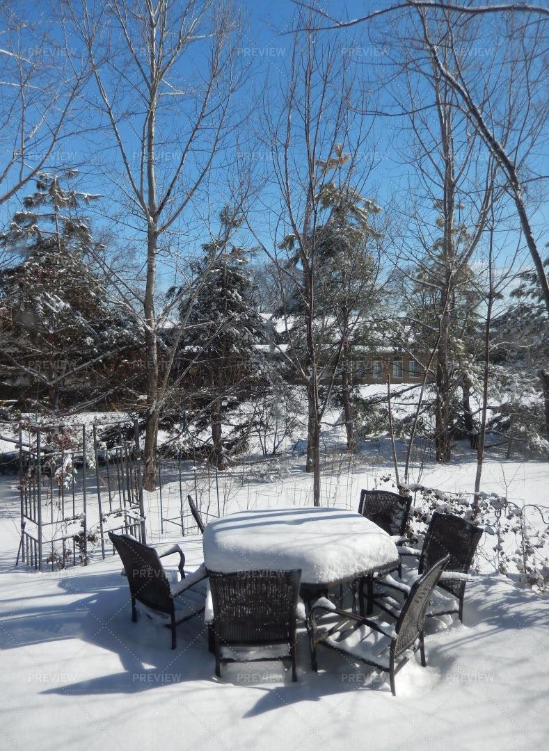 Snow-Covered Backyard: Stock Photos