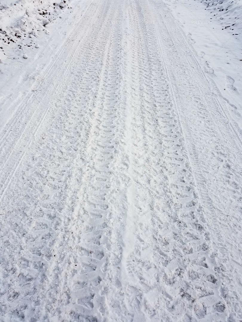 Frozen Tire Tracks: Stock Photos