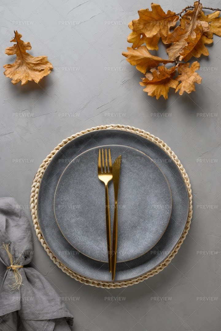 Golden Cutlery On A Plate: Stock Photos