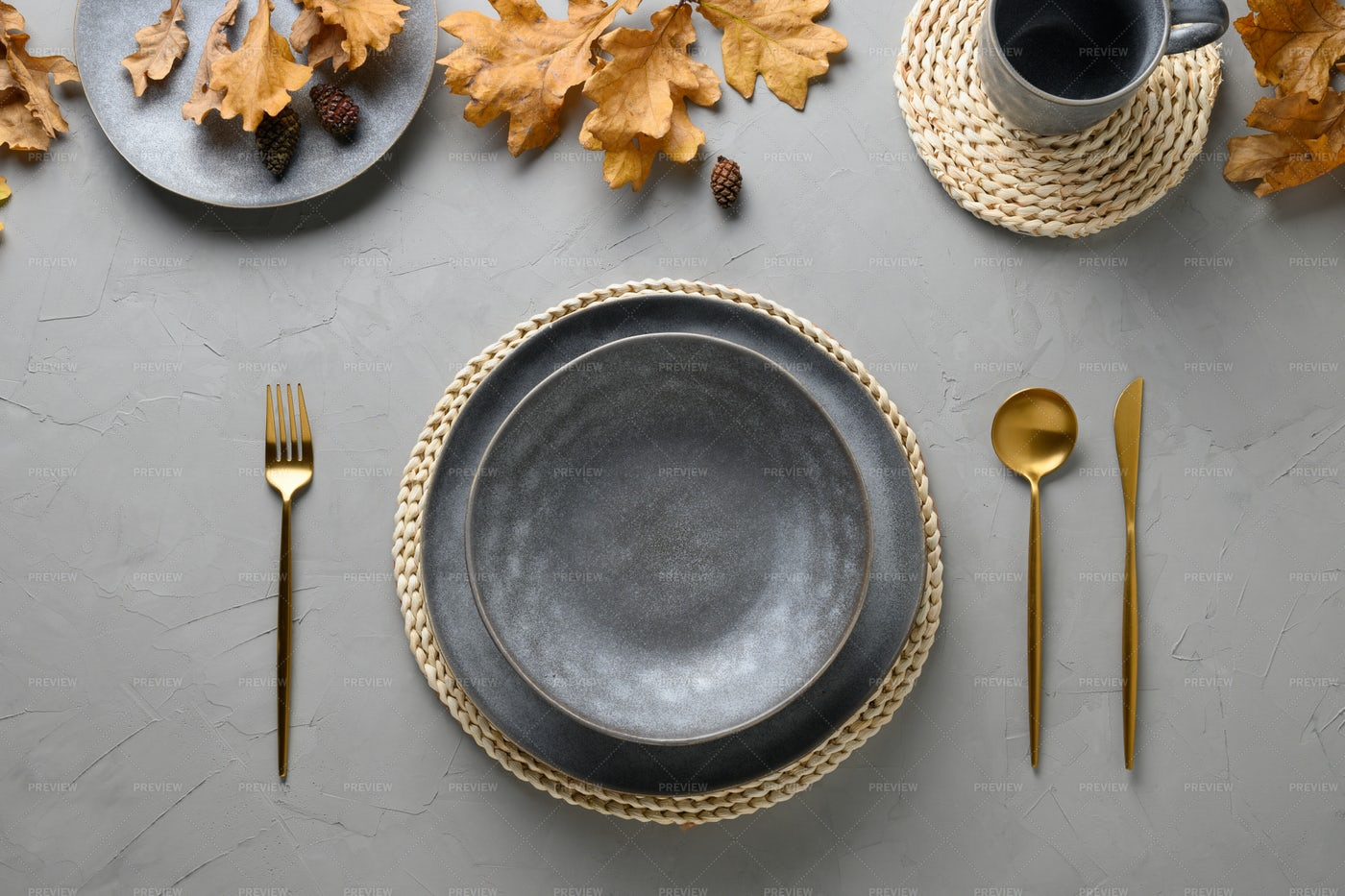 Grey Table Setting: Stock Photos