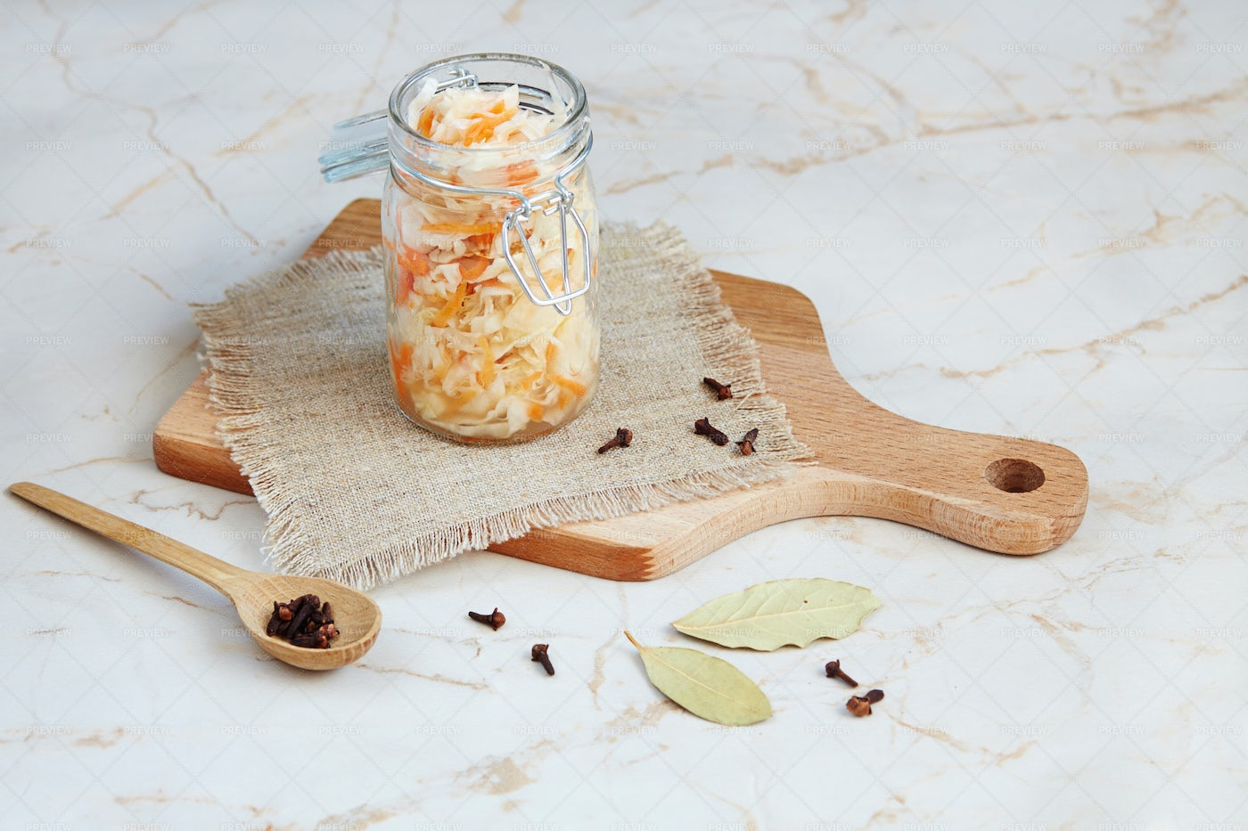 Jar Of Fermented Cabbage: Stock Photos