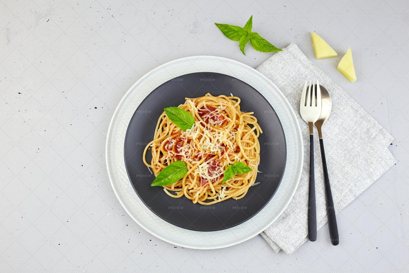 Gray Plate Of Pasta: Stock Photos