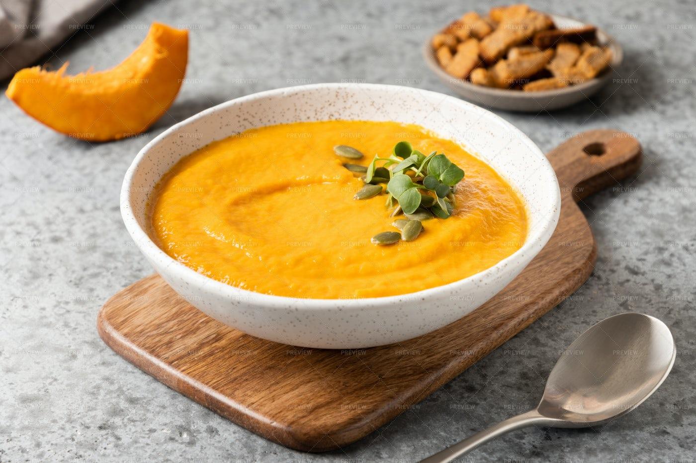 Pumpkin Soup With Garnish: Stock Photos