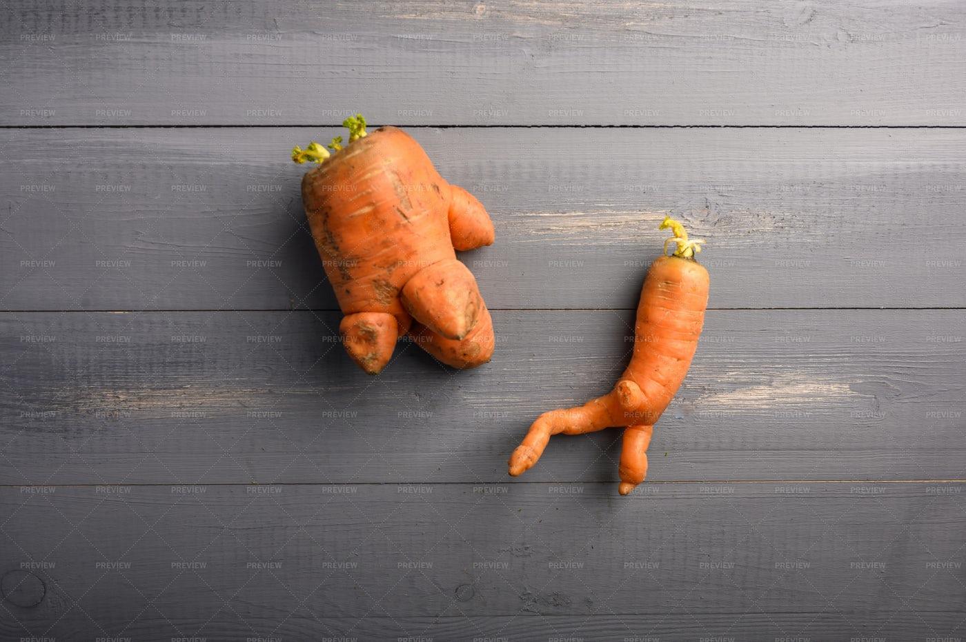 Funny Shape Carrots: Stock Photos