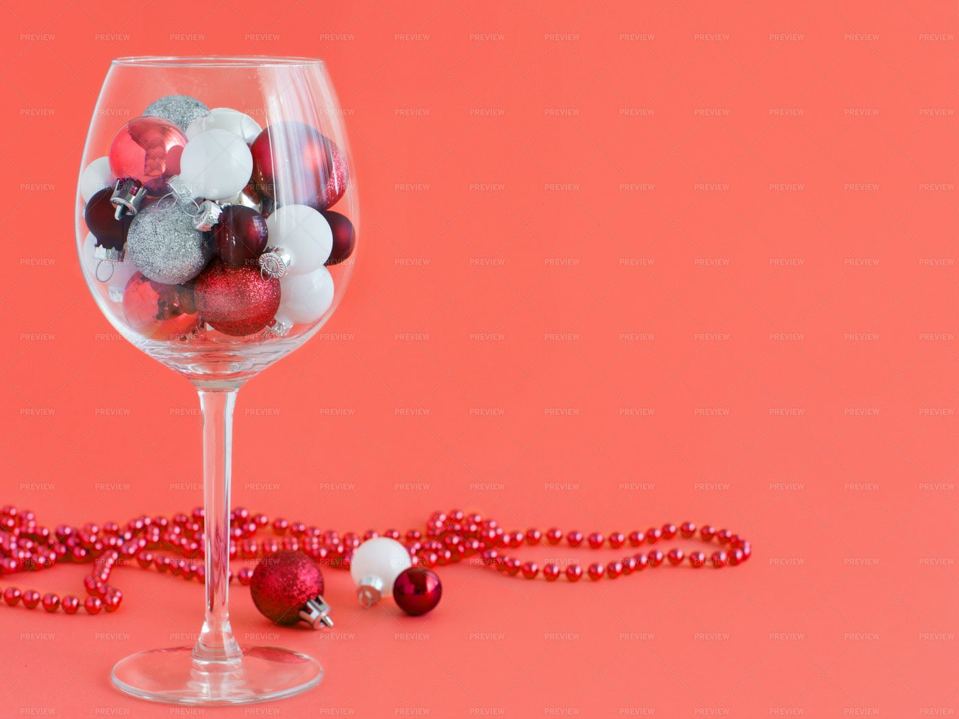 Christmas Baubles On Red: Stock Photos