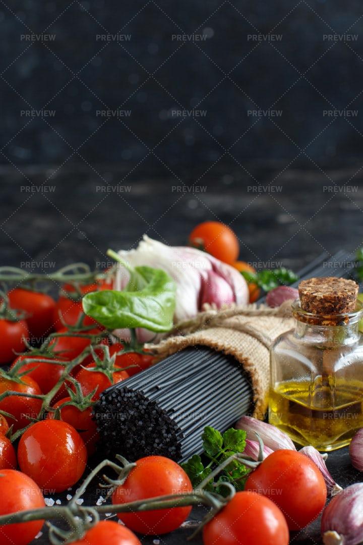 Raw Squid Ink Pasta: Stock Photos