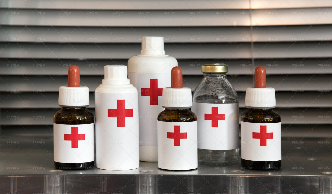 Collection Of Pharmacy Bottles: Stock Photos