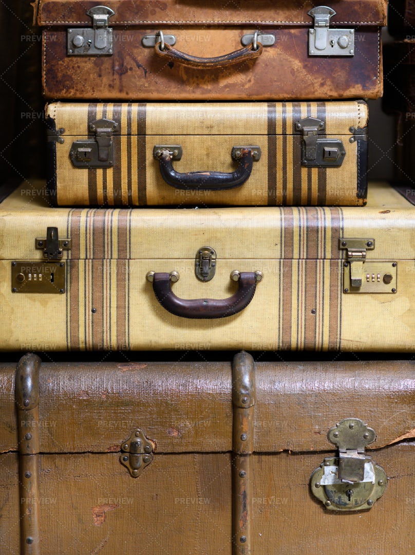 Stacked Vintage Suitcases: Stock Photos