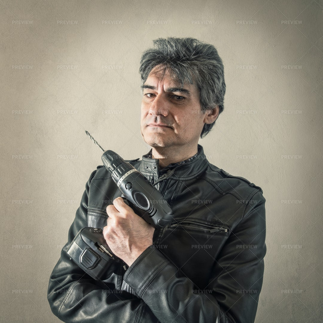 Man With A Drill: Stock Photos