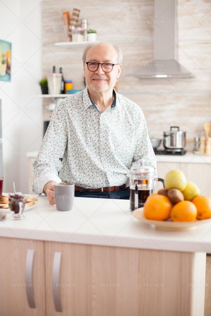 Senior Having Morning Coffee: Stock Photos